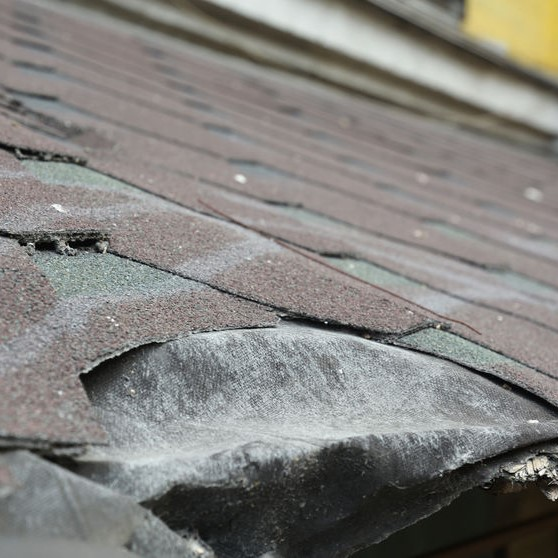 close up damaged roof edge
