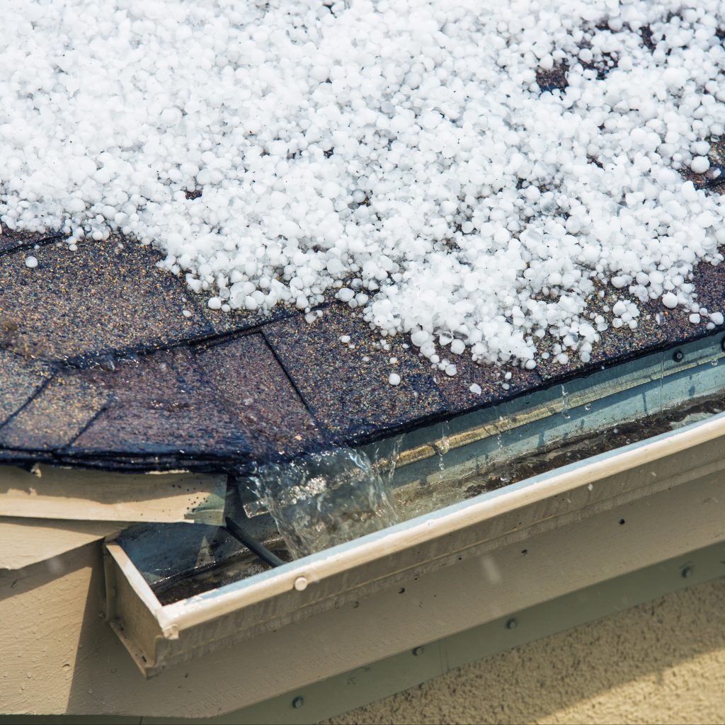 Hail resting on a roof.
