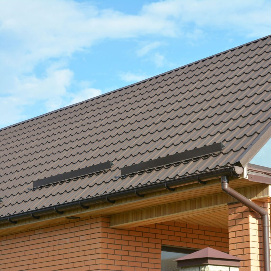 metal tile roof with ice dams